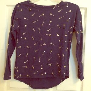 Girls Printed Softest Tee Gold-Foil Arrows Shirt